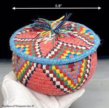 Vintage Primitive Coiled Wool over Grass Basket Southwest Style