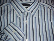 John W. Nordstrom Egyptian Cotton Dress Shirt Size L Blue/White MADE IN ITALY