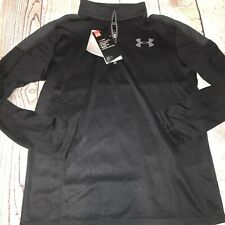 Under Armour Youth Large Black Dri Fit Waffle Pullover Half Zip NEW