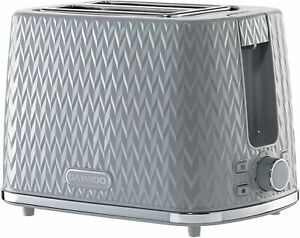 Daewoo Argyle Patterned 2 Slice Toaster Crumb Tray Defrost Reheat Function Grey