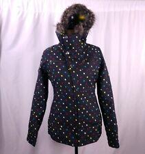 Burton Dry Ride Snowboard Jacket Size S Faux Fur Hood Square Print