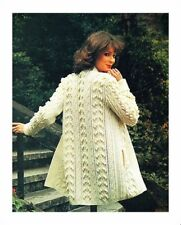 Ladies Knitting Pattern Aran 3/4 Jacket with Pocket & Optional Belt