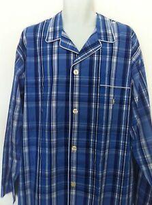 Polo Ralph Lauren Sleepwear Shirt Plaid Blues Pocket Yellow Logo LS Sz L NWT