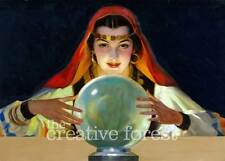 FORTUNE TELLER Vintage Mysterious Gypsy Reproduction CANVAS ART PRINT 32x24 in.