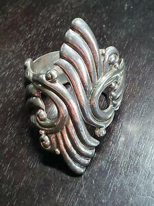 Beautiful Sterling Silver Cuff Bracelet, Artist Signed Hecho en Mexico Tanco Gro