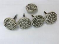 4+1 Vtg Round Ceramic Drawer Pulls Knob Flower Ivory Dresser Handle Cabinet Door