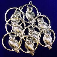 3Pcs Newest Carved Tibetan silver Owl Pendant Bead 45x37x4mm
