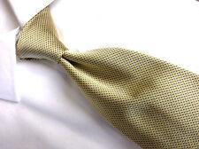 "Brooks Basic Tie  Yellow Gold  & Blue Pin dot Silk Necktie 3 3/4"" W/ 60 L"