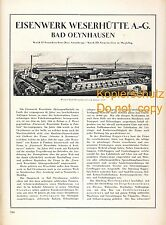 Weserhütte Bad Oeynhausen Historie Reklame 1925 Hütte Neunkirchen Neustrelitz ad