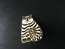 Laurel Burch SHAMBALA Black & White enamel cloisonné & gold tone pin brooch