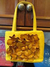 Sweet  PAOLO MASI ITALY Yellow Tweed with Leather Flower Petals Small Tote Purse