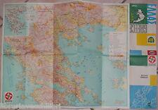 CARTA PIEGHEVOLE GRECIA DEL BP TOURING SERVICE Viaggi Itinerari Turismo Egeo di