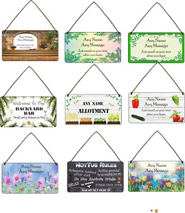 Personalised Garden Hanging Plaque Backyard Allotment Shed Sign Gin Garden Gift
