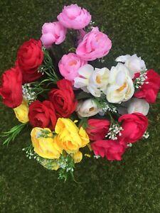 Artificial Silk Grave Flowers Ranunculus X 5 Bunches Mixed Job Lot