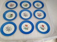 HAVILAND LIMOGES BLUE BAND HAND PAINTED FLOWERS 9 NINE LUNCH PLATES