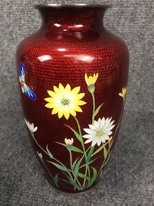 Beautiful vtg Japan red ox blood butterfly flower  silver wire cloisonne vase