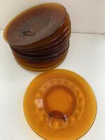 Set of 12 Vintage Indiana Glass Amber Kings Crown Thumbprint Snack Plates 10""
