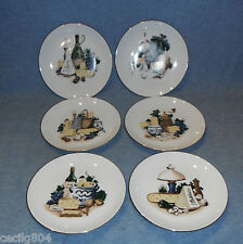 VINTAGE KAHLA WINE AND CHEESE  PORCELAIN CHINA LOT OF 6 GERMAN DEM. REPUBLIC
