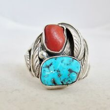 Vintage Signed Native American Silver Ring w/ Turquoise & Coral (8.3g, size 9.5)