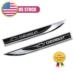 NEW 2pcs Metal Black CHEVROLET Blade FENDER BADGE Emblems Sticker For Chevrolet