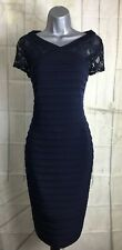 Linea-House Of Fraser S 12 Navy Lace/Bandage Style Fitted Elegant Wiggle Dress