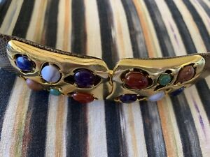 VINTAGE JUDITH LIEBER BROWN  REPTILE BELT WITH GOLD BUCKLE Size  33 End To End