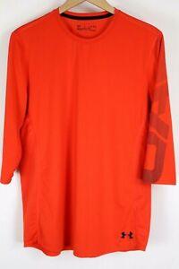 Under Armour UA Mens sz Large Orange Baseball Exclusive ¾ Sleeve Print Stealth