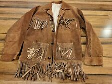 Hippy Mens Suede Leather Coat Vintage Brown Fringe Western Jacket hecho Mexico