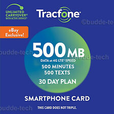 TracFone eBay Exclusive Smartphone Plan Budget 500mb data 500texts 500min 30days