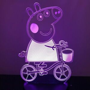PEPPA PIG GIRLS 3D Acrylic LED 7 Colour Night Light Table Lamp Birthday Gift