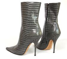 Casadei Gray Patent Leather Stiletto Booties Size 7B Alligator Print Crocodile