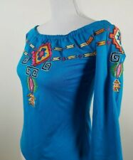 TUNIQUE Womens S Embroidered Top Blouse Shirt 3/4 Sleeves Cold Drop Shoulders