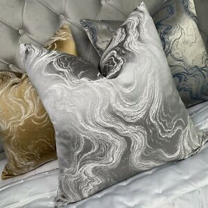 "Luxury Cushion Cover 18""x 18"" Designer Fabric & Marble Effect Grey Silver Decor"
