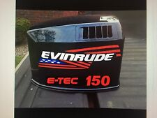 2 - 15 inch Evinrude flag Outboard decals marine vinyl  with E-TEC 150 decals