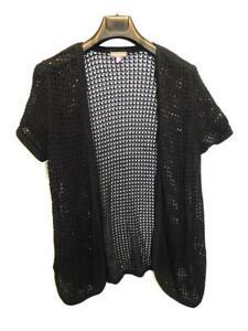 Vince Camuto 2X Black Cardigan Sweater Short Sleeve Open Front Crochet Cotton 2X
