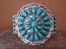 Native American Indian Jewelry Sterling Silver Turquoise Cluster Bracelet!
