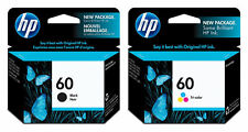 2 Genuine HP 60 Ink Cartridge Black& Tri-Color With Original BOX and  Foil Wrap