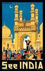 """Vintage Illustrated Travel Poster CANVAS PRINT See India Taj Mahal 2 16""""X12"""""""