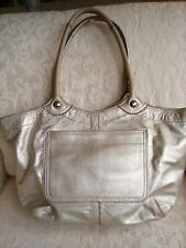 Coach Bleecker Gold Metallic Leather Large Shoulder Bag Purse Stained Lining