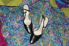 Classy Black Leather Heels Vintage Gucci Shoes Sling Back