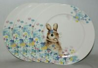 "Ciroa Easter Bunny Rabbit Floral Porcelain 8"" Salad Plates Set of Four New"