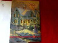 Thomas Kinkade Hallmark Christmas card house windows light up new for Wife 2003