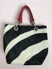 Maurizio Taiuti Pony Hair Hand Bag Black & White Red Interior Style # 12863