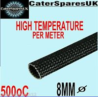 8MM BLACK HEAT RESISTANT SLEEVING CABLE WIRE HIGH TEMPERATURE PER METRE 500oC