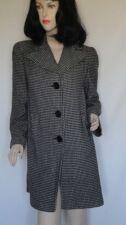 Vintage 40's Black White Houndstooth Check Wool Coat B38
