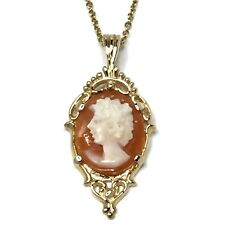19 Inches 14Kt Yellow Gold Gv146073 Vintage Filigree Cameo Shell Kabana Necklace