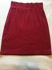 AMERICAN APPAREL 100% COTTON DEEP RED KNEE LENGTH COMFY PENCIL SKIRT XL