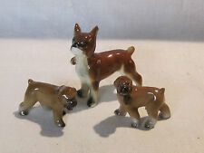Vintage porcelain Boxer dogs mother and 2 puppies, Japan
