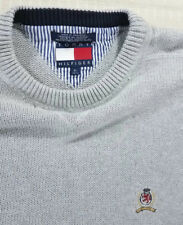 Tommy Hilfiger Vintage 90s Knit Pullover Sweater with Crest Mens XL Heather Gray
