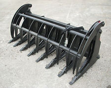 "Bobcat Skid Steer Attachment - 84"" Root Rake Grapple Bucket w/ Teeth - Free Ship"